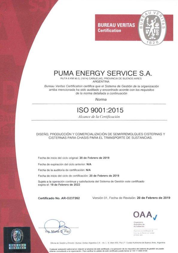 PUMA ENERGY SERVICES SA (OAA-9001-2015)-CERTIFICATE-AR-O237262-v01